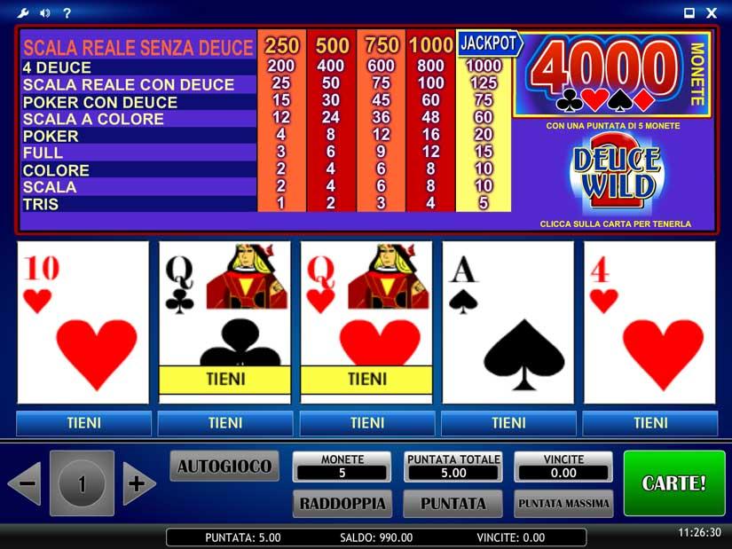 Varianti del video poker dichiarate